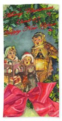 Hand Towel featuring the painting Christmas Carolers Merry Christmas And Happy New Years by Carol Wisniewski