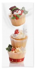 Christmas Cupcake Tower Bath Towel