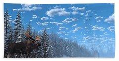 Christmas Day At Moose Lake Hand Towel by Ken Morris