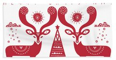 Christmas Deers Hand Towel by Susan Claire