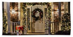 Bath Towel featuring the photograph Christmas Door 1 by Betty Denise