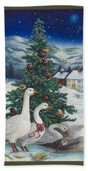 Christmas Geese Bath Towel
