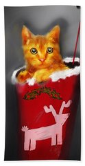 Christmas Kitten Hand Towel by Ken Morris