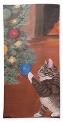 Christmas Kitty Cat Hand Towel