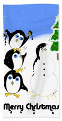 Hand Towel featuring the digital art Christmas Penguins by Stephanie Grant