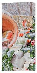 Christmas Robins Hand Towel by Tony Todd