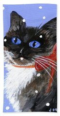 Hand Towel featuring the painting Christmas Siamese by Jamie Frier