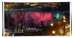 Christmas Spirit At Niagara Falls - Holiday Card Hand Towel by Lingfai Leung