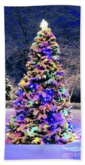 Christmas Tree In Snow Bath Towel