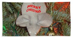 Bath Towel featuring the photograph Christmas Tree Mouse by Joseph Baril