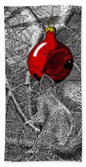 Christmas Tree Squirrel With Red Ornament Bath Towel