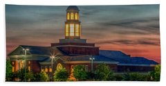 Christopher Newport University Trible Library At Sunset Bath Towel