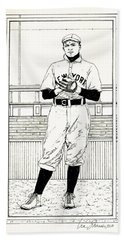 Hand Towel featuring the drawing Christy Mathewson by Ira Shander