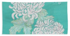 Hand Towel featuring the painting Chrysanthemums And Butterflies by Stephanie Grant