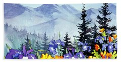 Hand Towel featuring the painting Chugach Summer by Teresa Ascone