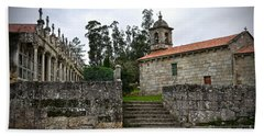 Church And Cemetery In A Small Village In Galicia Hand Towel