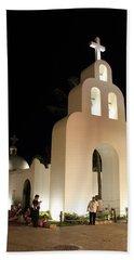 Church At Night In Playa Del Carmen Bath Towel