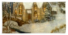 Church Snow Paintings Bath Towel