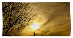 Bath Towel featuring the photograph Church Steeple Clouds Parting by Jerry Cowart