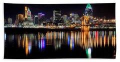 Cincinnati Skyline In Christmas Colors Hand Towel