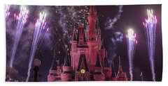 Cinderella's Castle With Fireworks Hand Towel