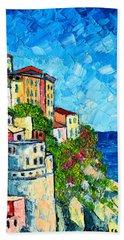Cinque Terre Italy Manarola Painting Detail 3 Hand Towel