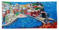 Cinque Terre Vernazza Poppies Bath Towel