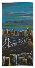 Bath Towel featuring the painting Citiscape by Donna Blossom