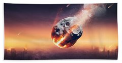 City Destroyed By Meteor Shower Bath Towel