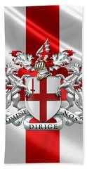 City Of London - Coat Of Arms Over Flag  Hand Towel