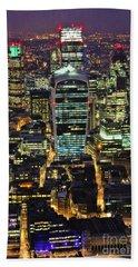 City Of London Skyline At Night Bath Towel