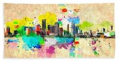 City Of Miami Grunge Hand Towel by Daniel Janda