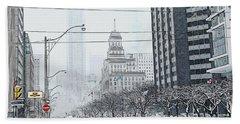 City In Winter Hand Towel by Yvonne Wright