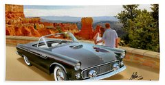 Classic 1955 Thunderbird At Bryce Canyon Black  Bath Towel
