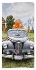 Classic Car In Autumn Farm Field Bath Towel