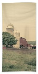 Classic Farm With Red Barn And Silos Hand Towel