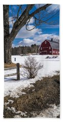 Classic New England Farm Scene Bath Towel