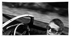 Classic Steve Mcqueen Photo Driving Jaguar Xk Ss Hand Towel