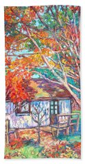 Bath Towel featuring the painting Claytor Lake Cabin In Fall by Kendall Kessler