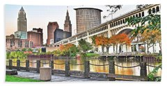 Cleveland Panorama Over The Cuyahoga Hand Towel