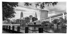 Cleveland River Cityscape Hand Towel