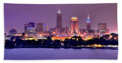 Cleveland Skyline At Night Evening Panorama Hand Towel
