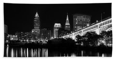 Cleveland Skyline Hand Towel by Dale Kincaid