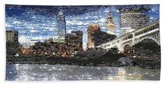 Cleveland Skyline - Typography Hand Towel