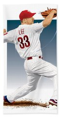 Cliff Lee Hand Towel by Scott Weigner