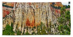 Cliffs Near Checkerboard Mesa Along Zion-mount Carmel Highway In Zion National Park-utah Bath Towel