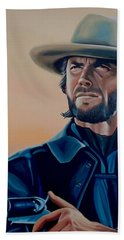 Clint Eastwood Painting Hand Towel
