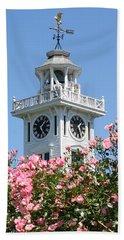 Clock Tower And Roses Bath Towel