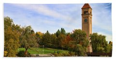 Clocktower And Autumn Colors Hand Towel
