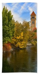 Clocktower In Fall Hand Towel